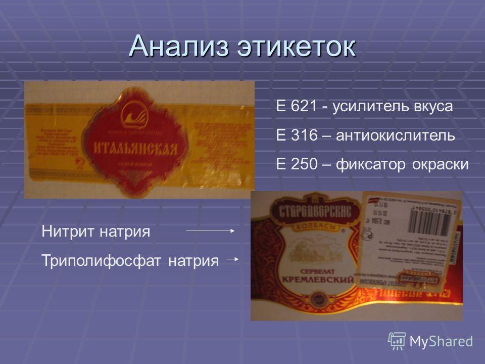 Анализ этикеток Е 621 - усилитель вкуса Е 316 – антиокислитель Е 250 – фиксатор окраски Нитрит натрия Триполифосфат натрия