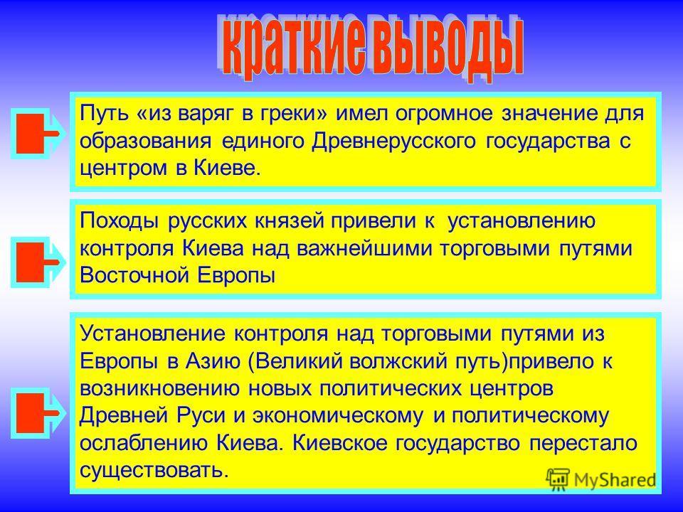 Путь «из варяг в греки» имел огромное значение для образования единого Древнерусского государства с центром в Киеве. Походы русских князей привели к установлению контроля Киева над важнейшими торговыми путями Восточной Европы Установление контроля на