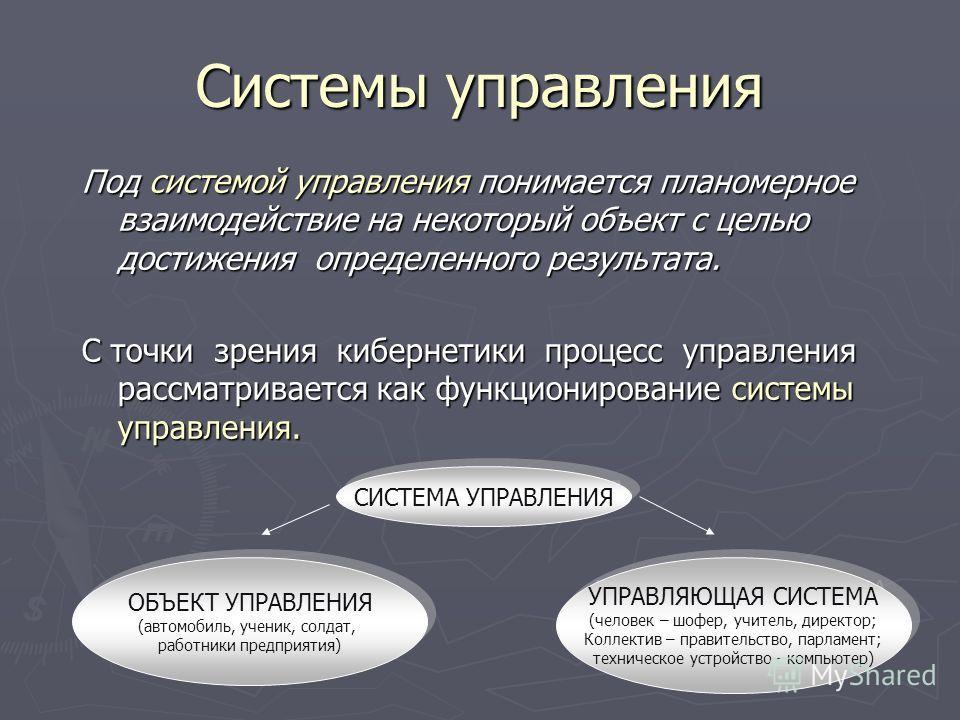 Системы управления Под системой управления понимается планомерное взаимодействие на некоторый объект с целью достижения определенного результата. С точки зрения кибернетики процесс управления рассматривается как функционирование системы управления. С
