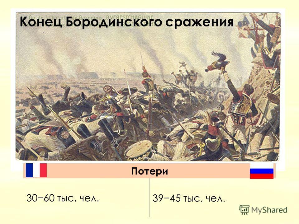 Конец Бородинского сражения Потери 3060 тыс. чел.3945 тыс. чел.