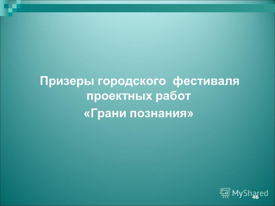 Призеры городского фестиваля проектных работ «Грани познания» 46