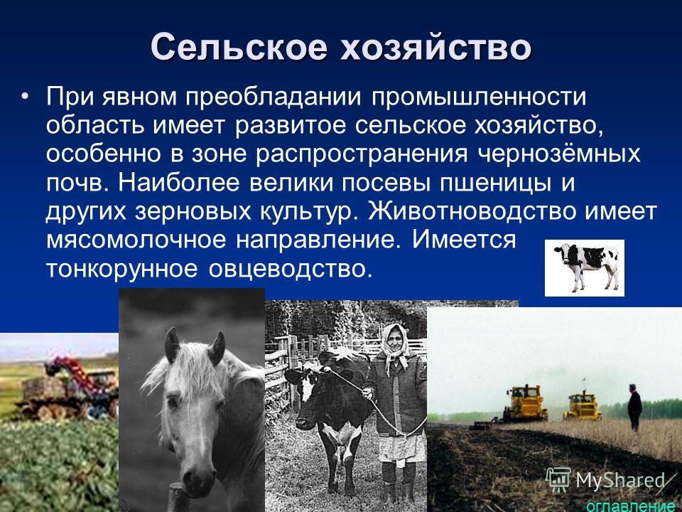 Сельское хозяйство При явном преобладании промышленности область имеет развитое сельское хозяйство, особенно в зоне распространения чернозёмных почв. Наиболее велики посевы пшеницы и других зерновых культур. Животноводство имеет мясомолочное направле