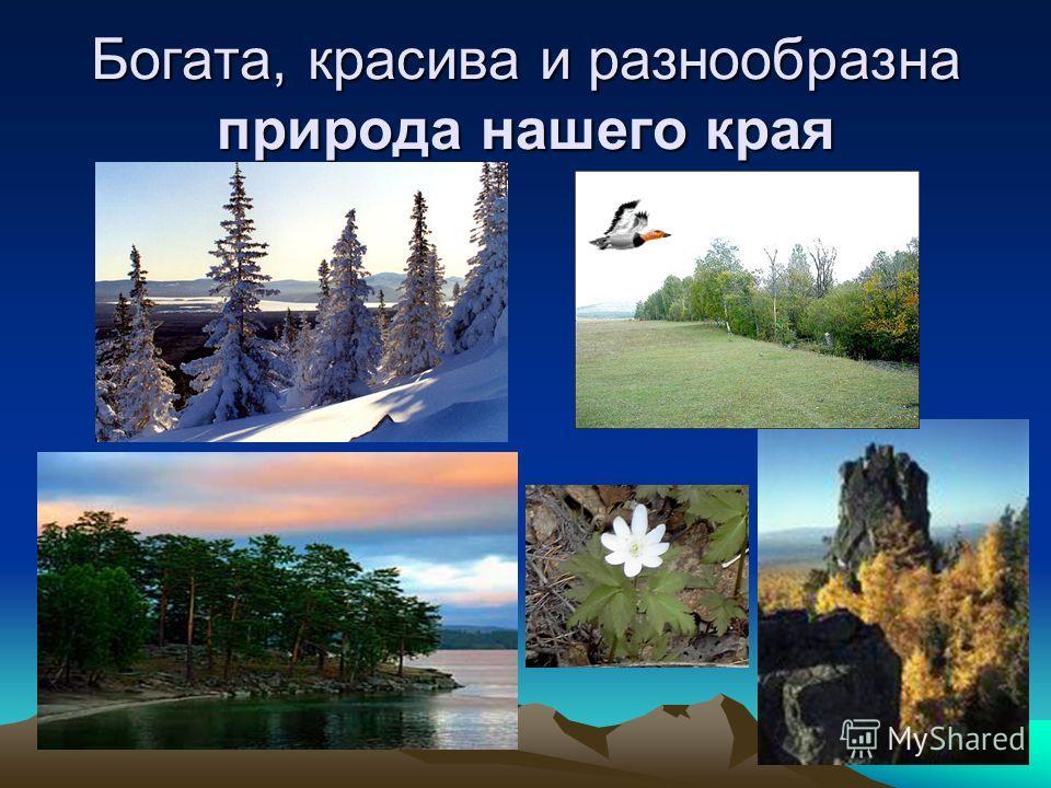 Южный Урал Богата, красива и разнообразна природа нашего края