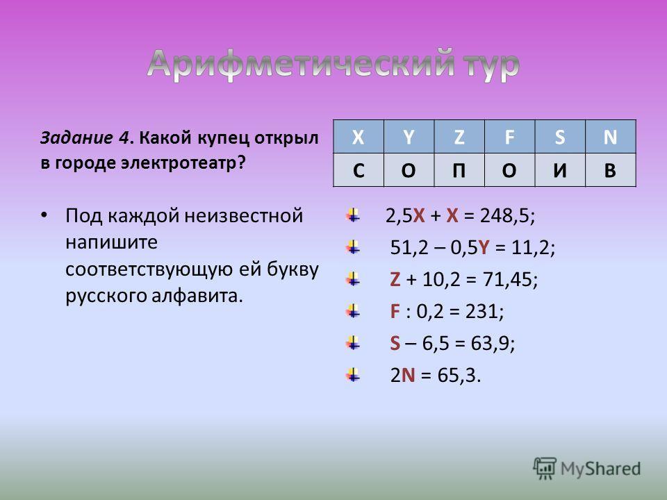 Задание 4. Какой купец открыл в городе электротеатр? Под каждой неизвестной напишите соответствующую ей букву русского алфавита. 2,5X + X = 248,5; 51,2 – 0,5Y = 11,2; Z + 10,2 = 71,45; F : 0,2 = 231; S – 6,5 = 63,9; 2N = 65,3. XYZFSN СОПОИВ