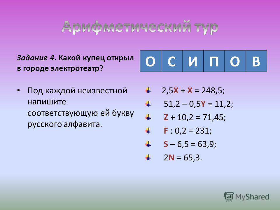 Задание 4. Какой купец открыл в городе электротеатр? Под каждой неизвестной напишите соответствующую ей букву русского алфавита. 2,5X + X = 248,5; 51,2 – 0,5Y = 11,2; Z + 10,2 = 71,45; F : 0,2 = 231; S – 6,5 = 63,9; 2N = 65,3. ОСИПОВ