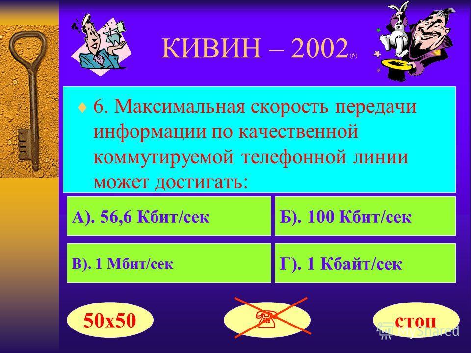 КИВИН – 2002 (6) 6. Максимальная скорость передачи информации по качественной коммутируемой телефонной линии может достигать: А). 56,6 Кбит/секБ). 100 Кбит/сек В). 1 Мбит/сек Г). 1 Кбайт/сек 50х50 стоп