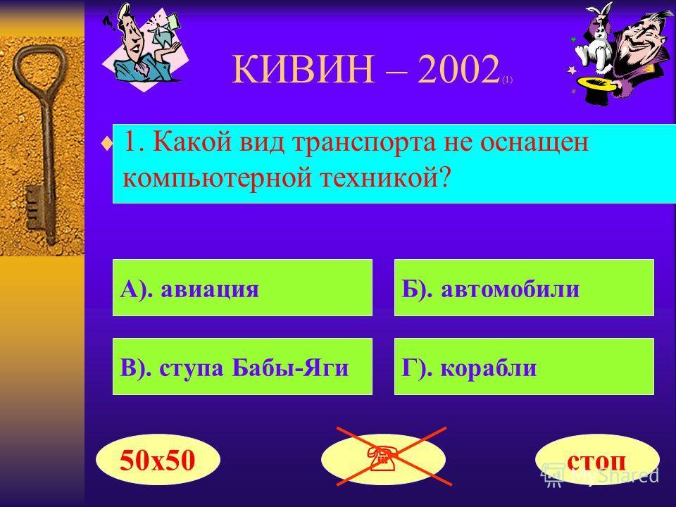 КИВИН – 2002 (1) Поздравляем!!! Ваш выигрыш составил 0