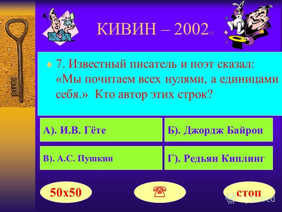 КИВИН – 2002 (6) Поздравляем!!! Ваш выигрыш составил 100000