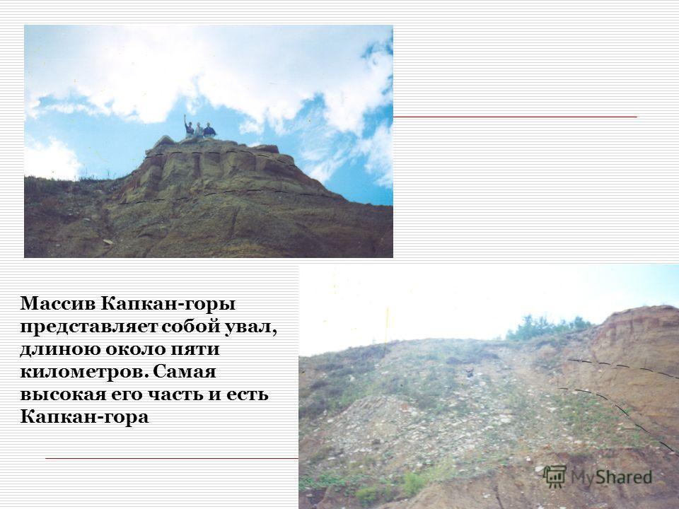 Массив Капкан-горы представляет собой увал, длиною около пяти километров. Самая высокая его часть и есть Капкан-гора