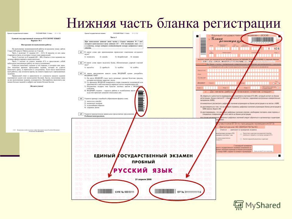 Нижняя часть бланка регистрации БР 3111111111114КИМ 55515111