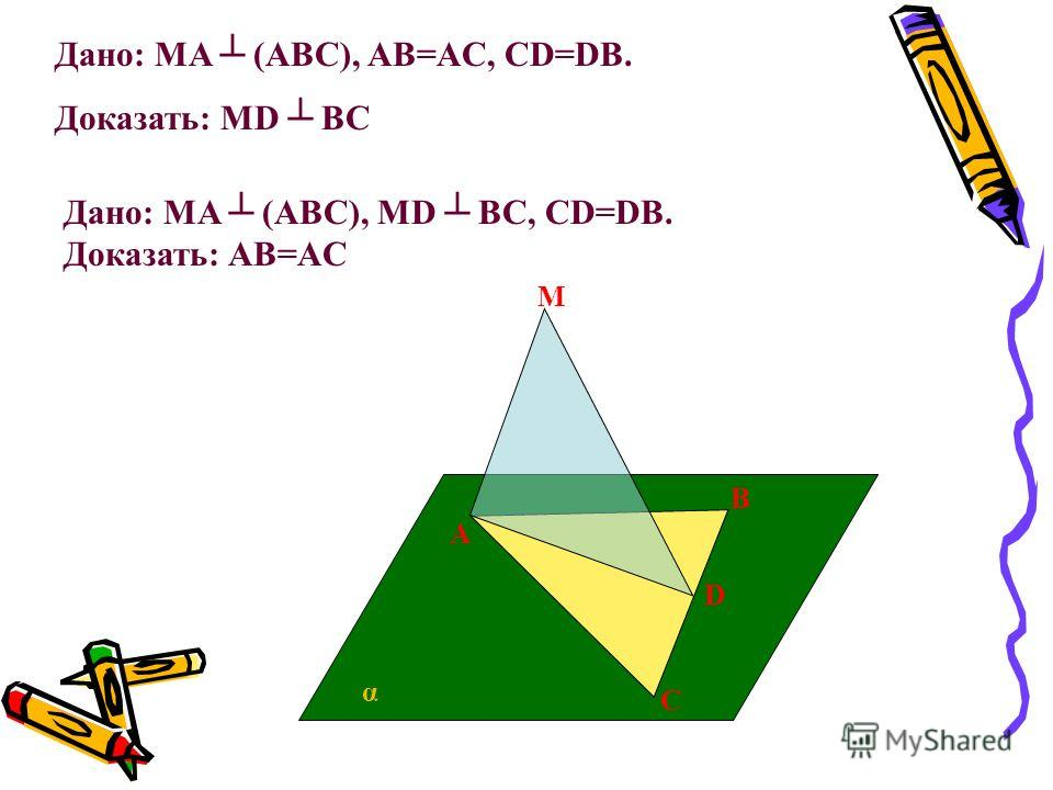 A C B D M α Дано: MA (ABC), AB=AC, CD=DB. Доказать: MD BC Дано: MA (ABC), MD BC, CD=DB. Доказать: AB=AC
