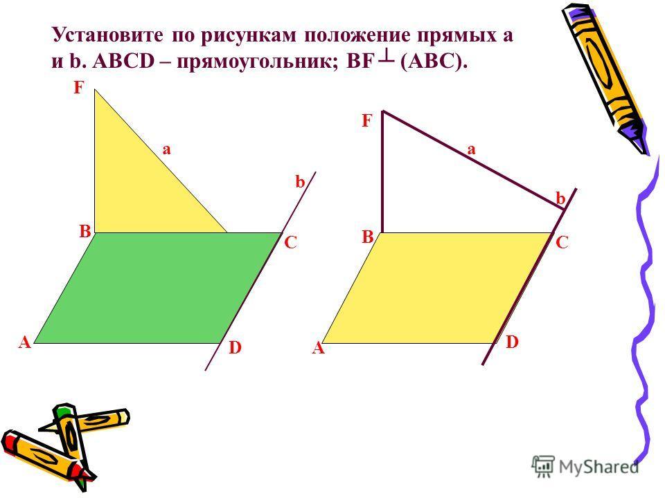 B С D A F a b Установите по рисункам положение прямых a и b. ABCD – прямоугольник; BF (ABC). A B C D b a F