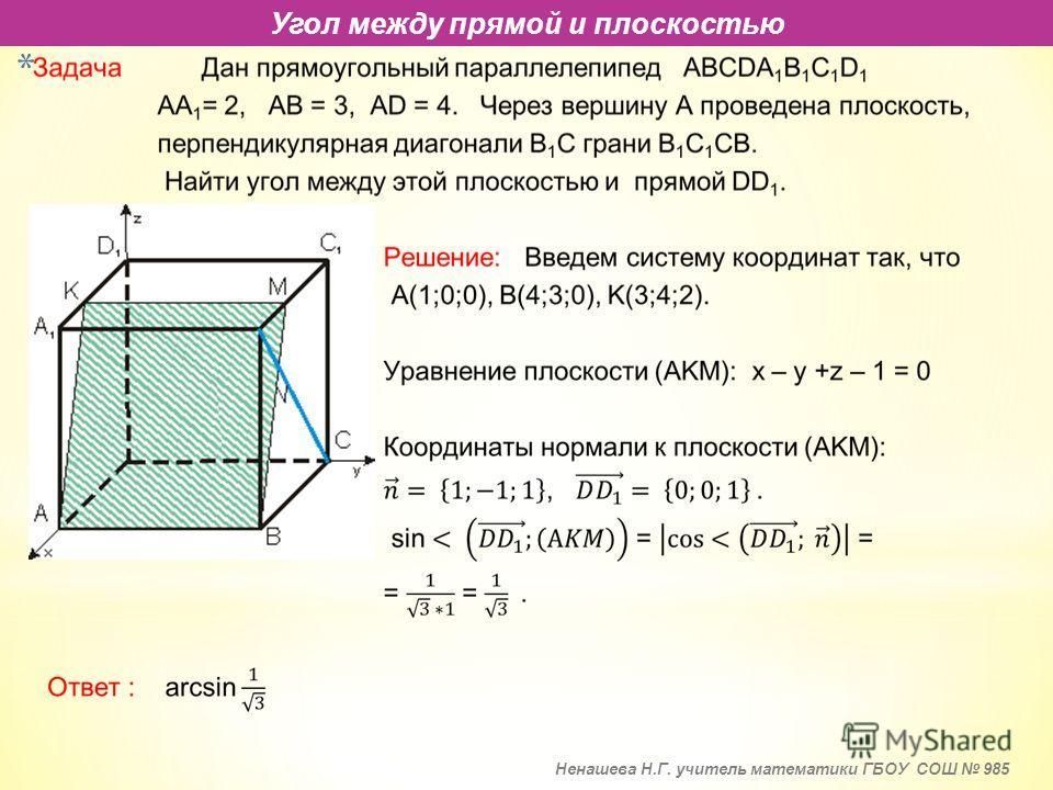 * Угол между прямой и плоскостью Ненашева Н.Г. учитель математики ГБОУ СОШ 985