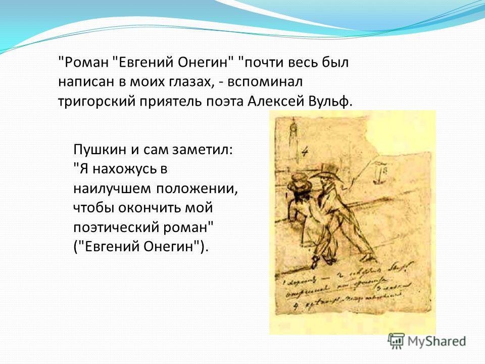 Роман Евгений Онегин почти весь был написан в моих глазах, - вспоминал тригорский приятель поэта Алексей Вульф. Пушкин и сам заметил: Я нахожусь в наилучшем положении, чтобы окончить мой поэтический роман (Евгений Онегин).