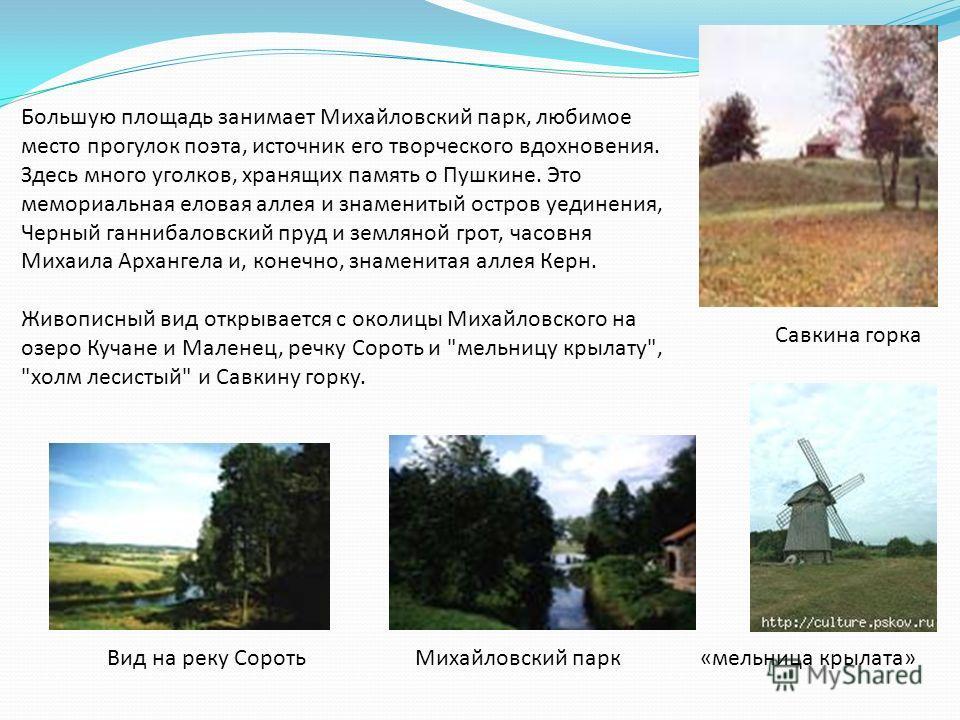 Большую площадь занимает Михайловский парк, любимое место прогулок поэта, источник его творческого вдохновения. Здесь много уголков, хранящих память о Пушкине. Это мемориальная еловая аллея и знаменитый остров уединения, Черный ганнибаловский пруд и