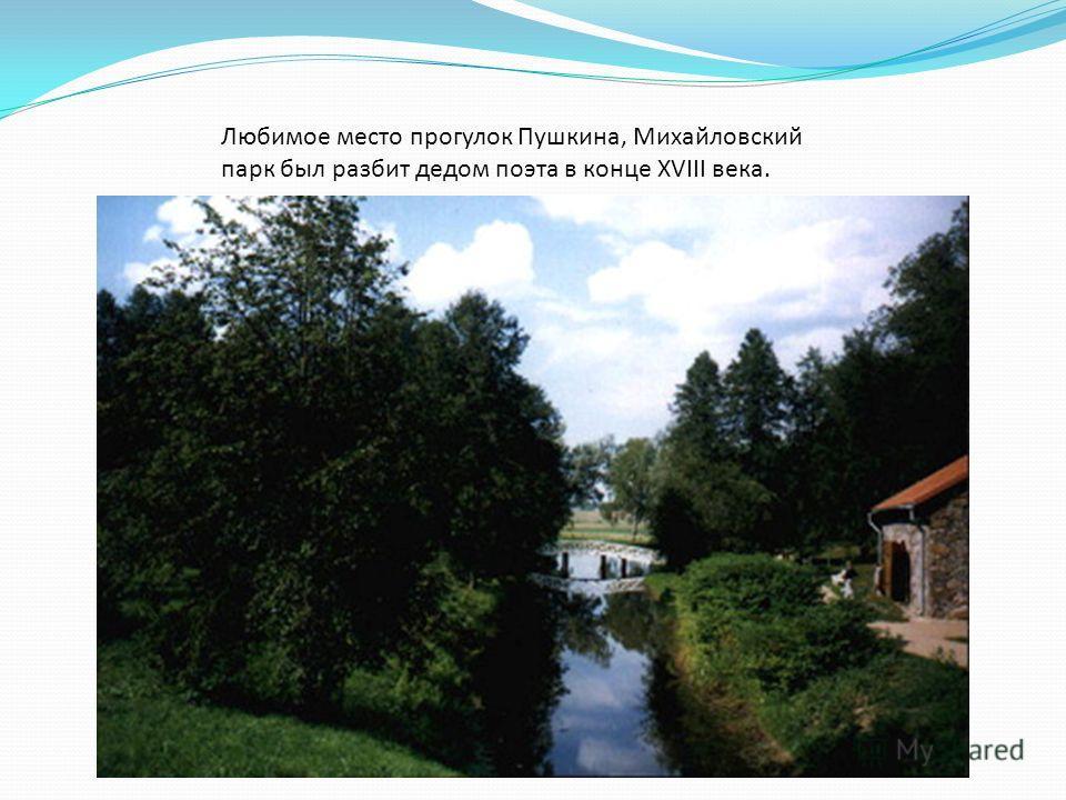 Любимое место прогулок Пушкина, Михайловский парк был разбит дедом поэта в конце XVIII века.