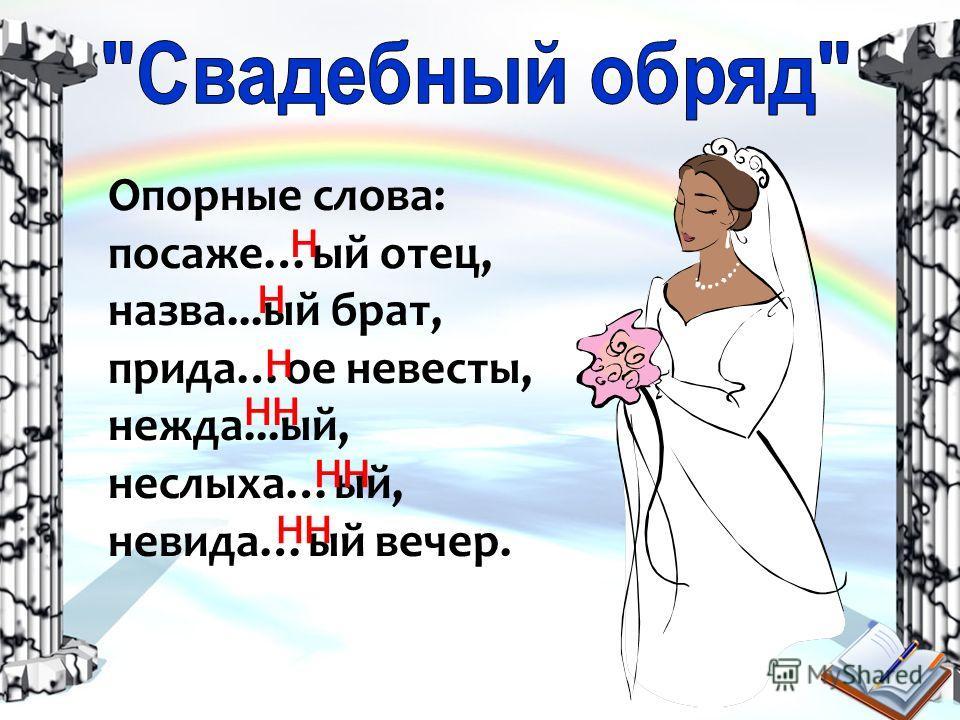 Опорные слова: посаже…ый отец, назва...ый брат, прида…ое невесты, нежда...ый, неслыха…ый, невида…ый вечер. н н н нн