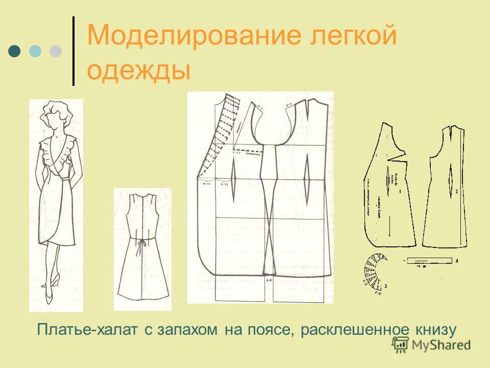 Моделирование легкой одежды Платье-халат с запахом на поясе, расклешенное книзу