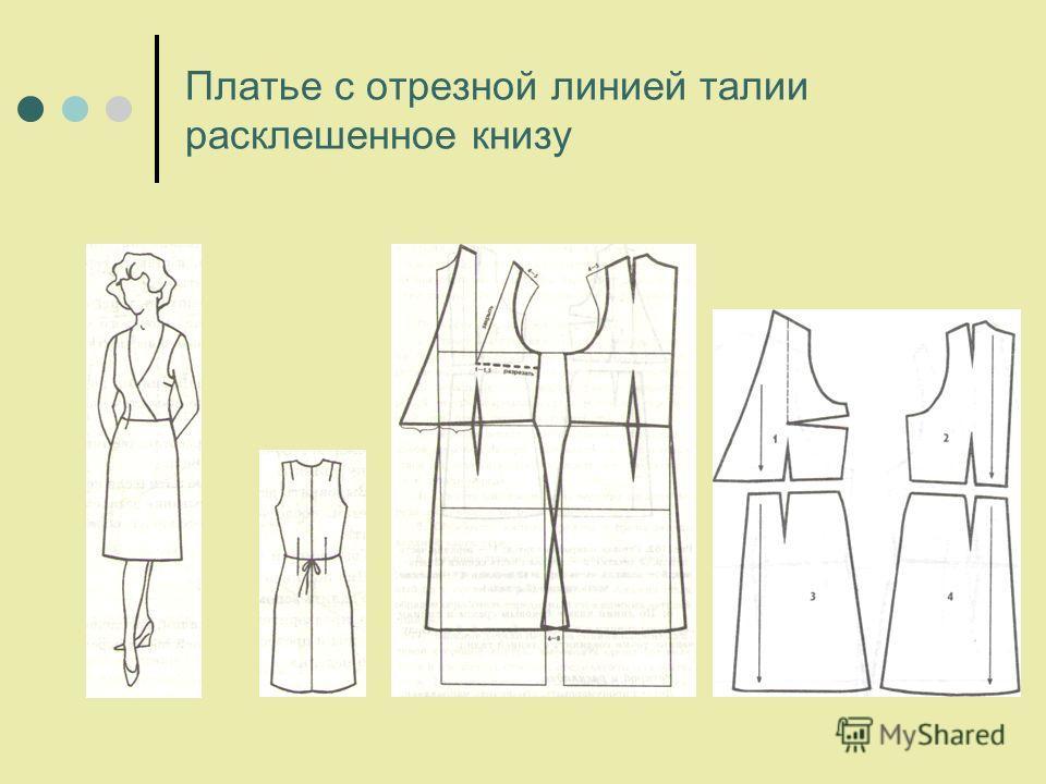 Платье с отрезной линией талии расклешенное книзу