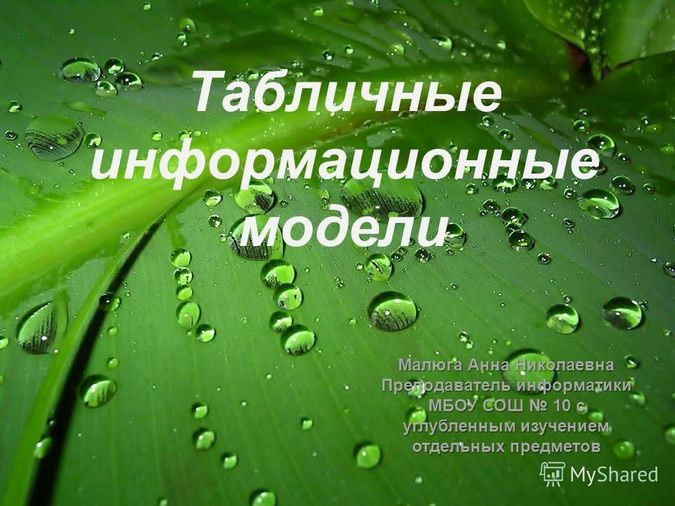 Табличные информационные модели Малюга Анна Николаевна Преподаватель информатики МБОУ СОШ 10 с углубленным изучением отдельных предметов