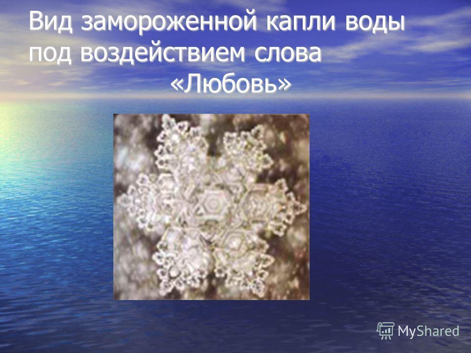 Вид замороженной капли воды под воздействием слова «Любовь»