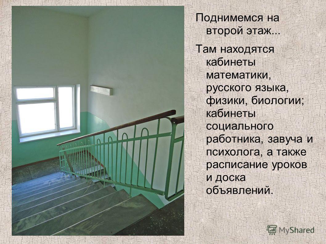 Поднимемся на второй этаж... Там находятся кабинеты математики, русского языка, физики, биологии; кабинеты социального работника, завуча и психолога, а также расписание уроков и доска объявлений.