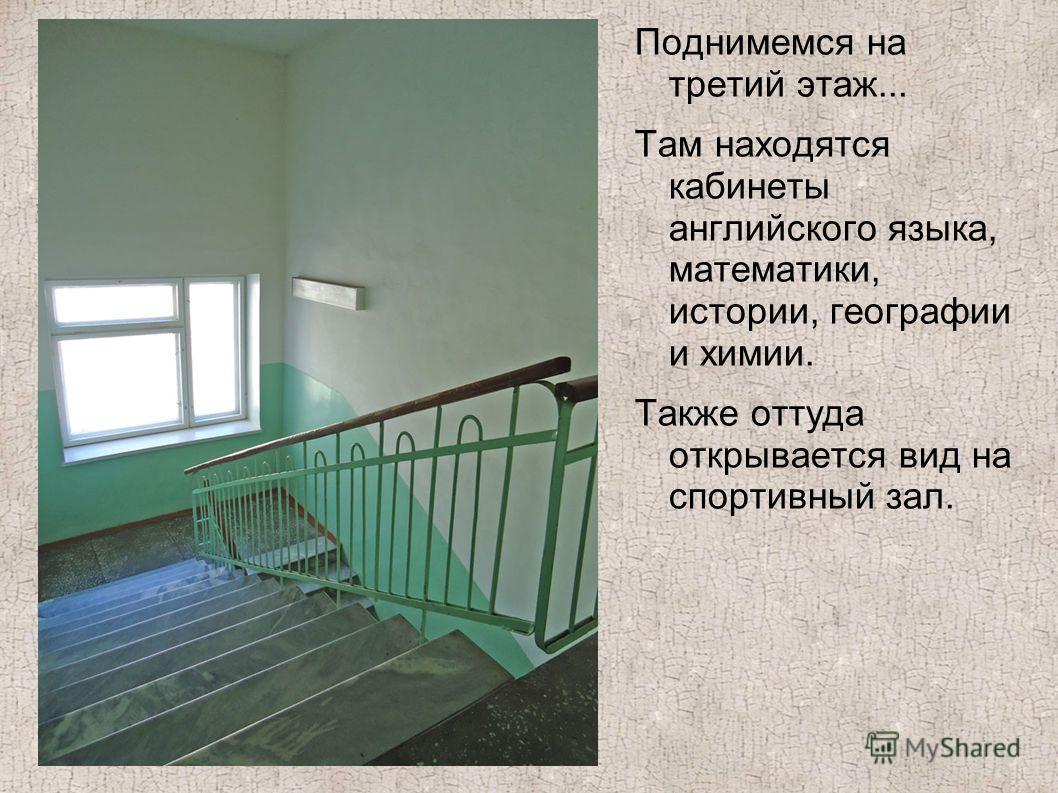 Поднимемся на третий этаж... Там находятся кабинеты английского языка, математики, истории, географии и химии. Также оттуда открывается вид на спортивный зал.