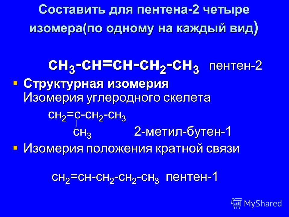 Составить для пентена-2 четыре изомера(по одному на каждый вид ) сн 3 -сн=сн-сн 2 -сн 3 пентен-2 сн 3 -сн=сн-сн 2 -сн 3 пентен-2 Структурная изомерия Изомерия углеродного скелета Структурная изомерия Изомерия углеродного скелета сн 2 =с-сн 2 -сн 3 сн
