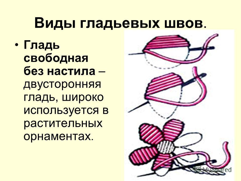 Виды гладьевых швов. Гладь свободная без настила – двусторонняя гладь, широко используется в растительных орнаментах.