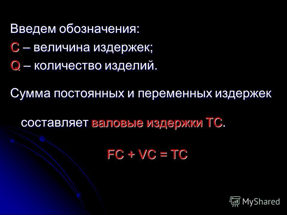 Введем обозначения: C – величина издержек; Q – количество изделий. Сумма постоянных и переменных издержек составляет валовые издержки TC. FC + VC = TC