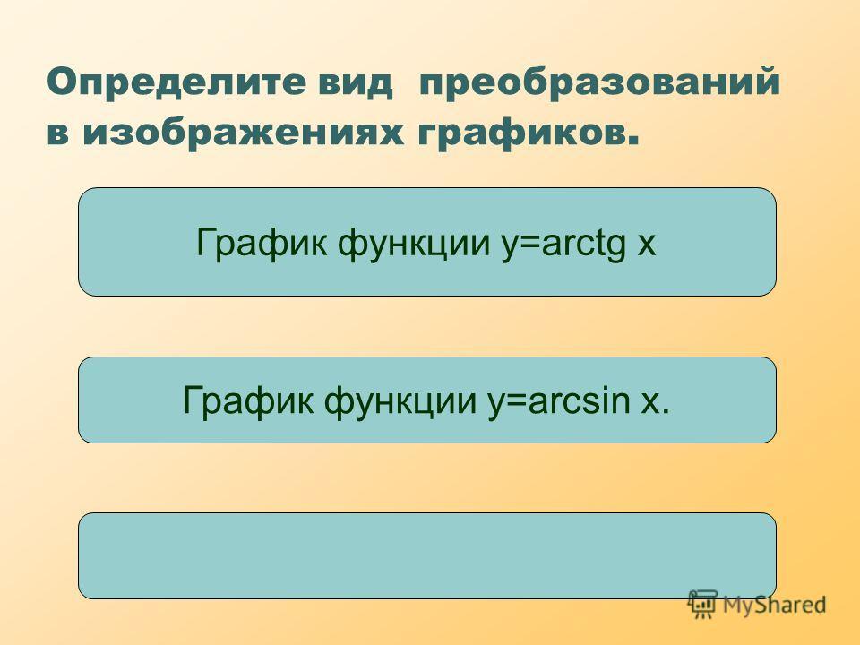 Определите вид преобразований в изображениях графиков. График функции y=arctg x График функции у=arcsin x.