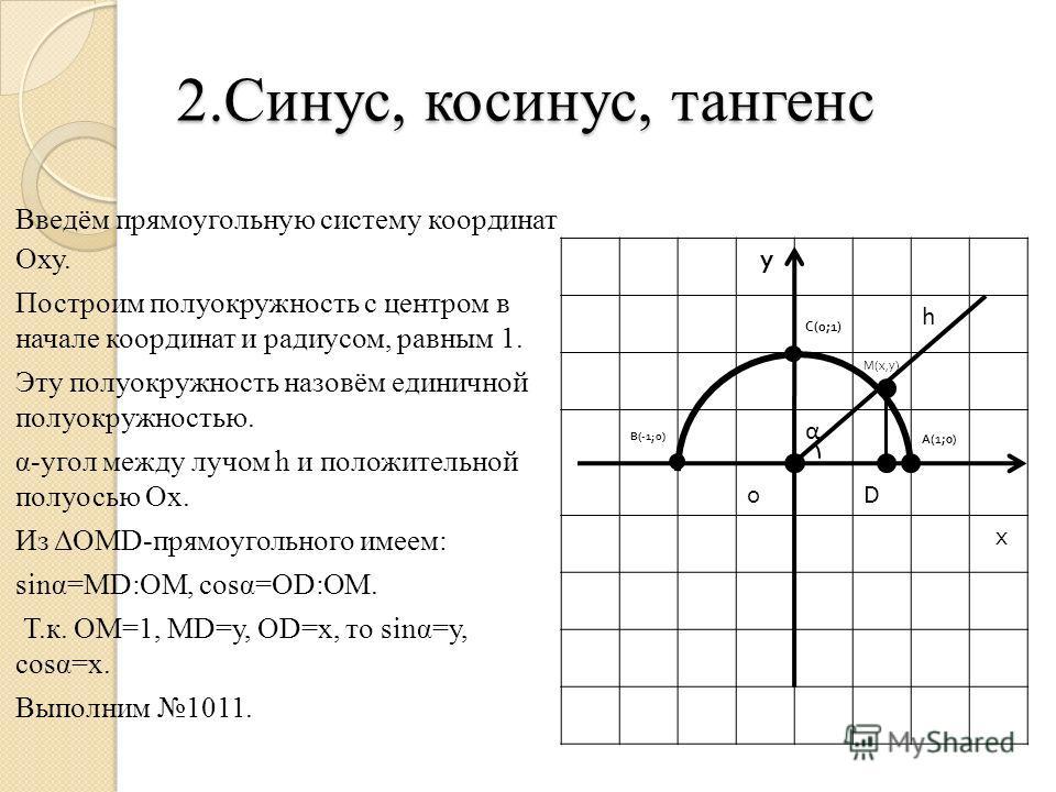 2.Синус, косинус, тангенс Введём прямоугольную систему координат Оху. Построим полуокружность с центром в начале координат и радиусом, равным 1. Эту полуокружность назовём единичной полуокружностью. α-угол между лучом h и положительной полуосью Ох. И