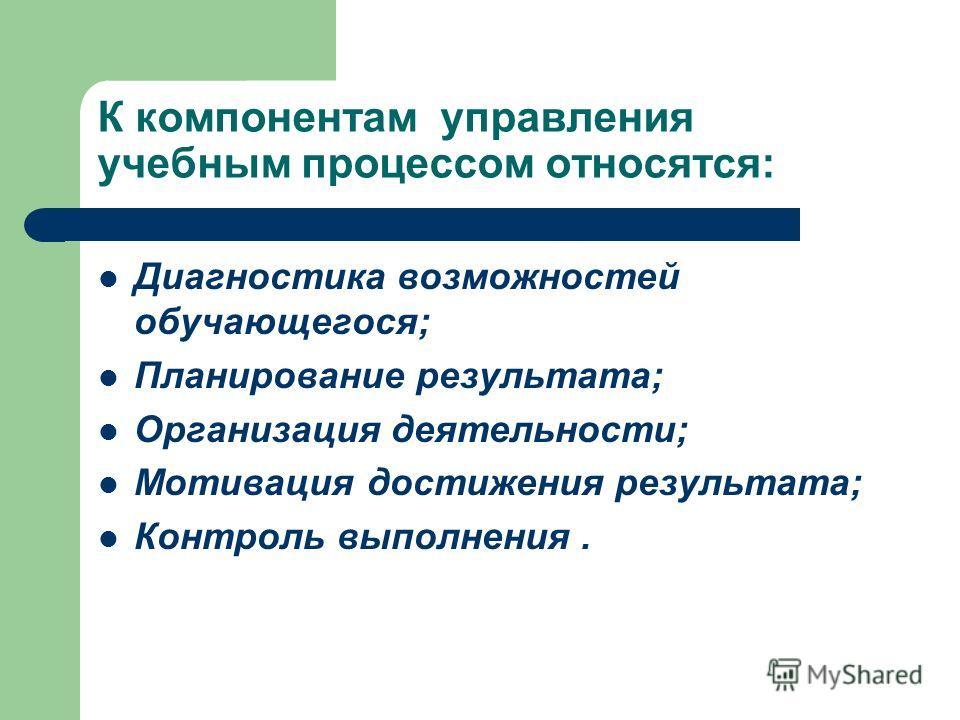 К компонентам управления учебным процессом относятся: Диагностика возможностей обучающегося; Планирование результата; Организация деятельности; Мотивация достижения результата; Контроль выполнения.