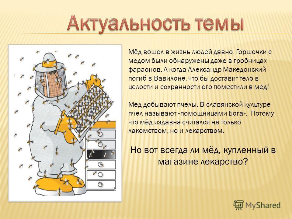 Мёд вошел в жизнь людей давно. Горшочки с медом были обнаружены даже в гробницах фараонов. А когда Александр Македонский погиб в Вавилоне, что бы доставит тело в целости и сохранности его поместили в мед! Мед добывают пчелы. В славянской культуре пче