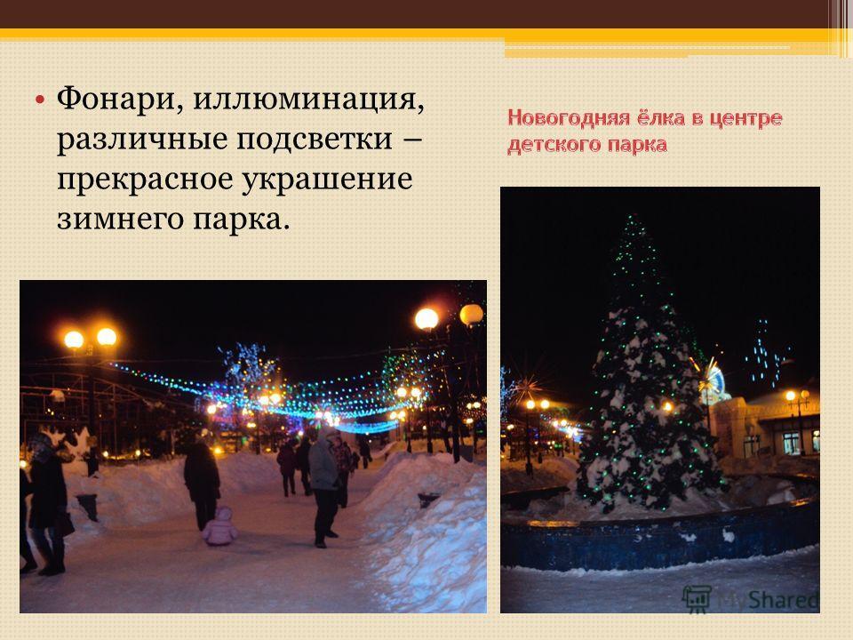 Фонари, иллюминация, различные подсветки – прекрасное украшение зимнего парка.