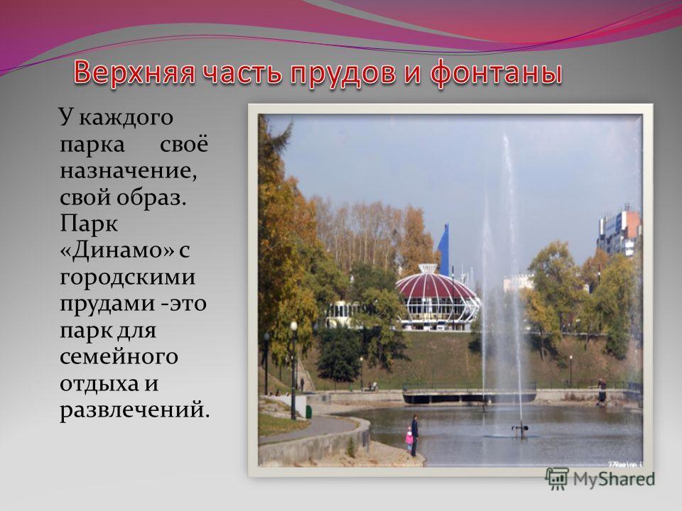 У каждого парка своё назначение, свой образ. Парк «Динамо» с городскими прудами -это парк для семейного отдыха и развлечений.