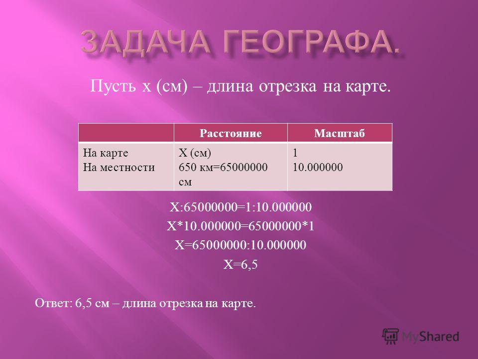 Пусть х ( см ) – длина отрезка на карте. Х :65000000=1:10.000000 Х *10.000000=65000000*1 Х =65000000:10.000000 Х =6,5 Ответ : 6,5 см – длина отрезка на карте. РасстояниеМасштаб На карте На местности Х ( см ) 650 км =65000000 см 1 10.000000
