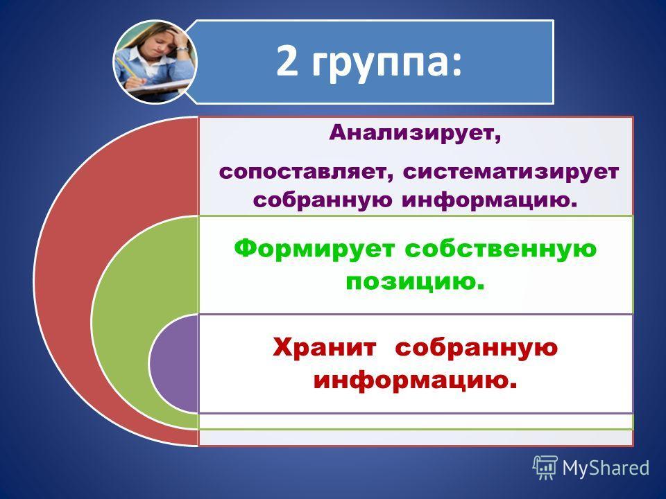 2 группа: Анализирует, сопоставляет, систематизирует собранную информацию. Формирует собственную позицию. Хранит собранную информацию.