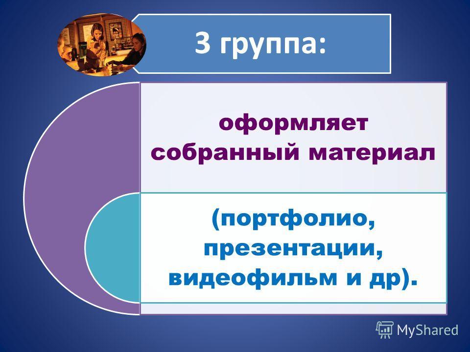 3 группа: оформляет собранный материал (портфолио, презентации, видеофильм и др).