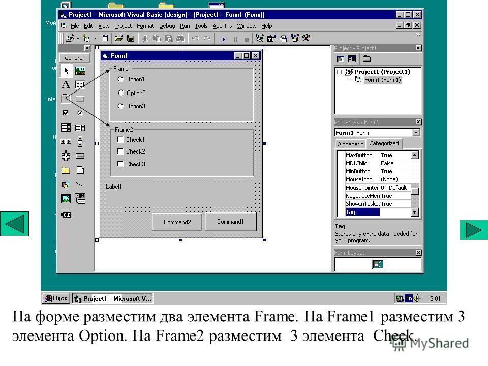 На форме разместим два элемента Frame. На Frame1 разместим 3 элемента Option. На Frame2 разместим 3 элемента Check.