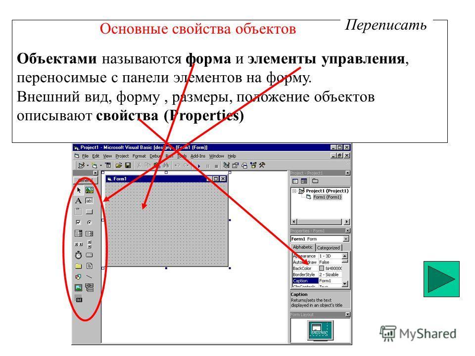 Основные свойства объектов Объектами называются форма и элементы управления, переносимые с панели элементов на форму. Внешний вид, форму, размеры, положение объектов описывают свойства (Properties) Переписать