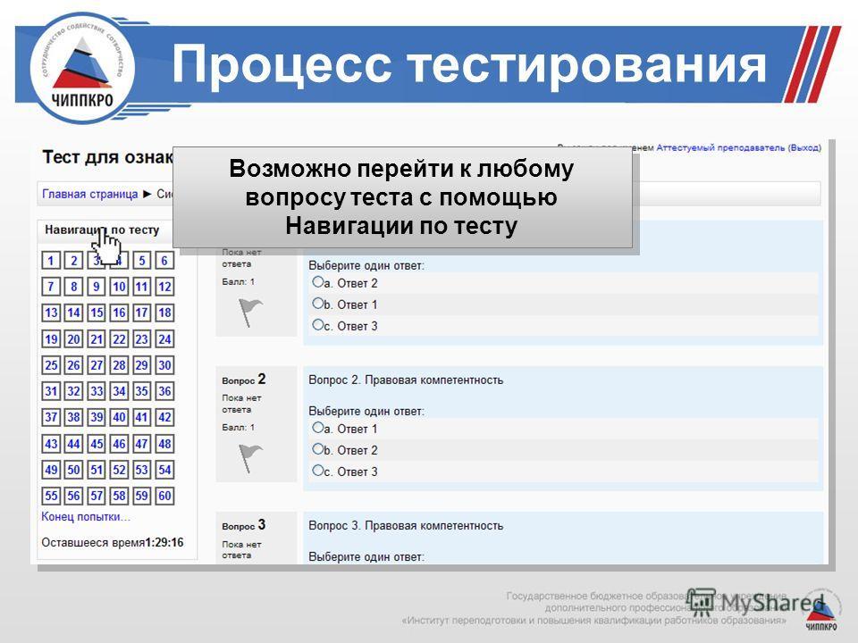 Процесс тестирования Возможно перейти к любому вопросу теста с помощью Навигации по тесту Возможно перейти к любому вопросу теста с помощью Навигации по тесту