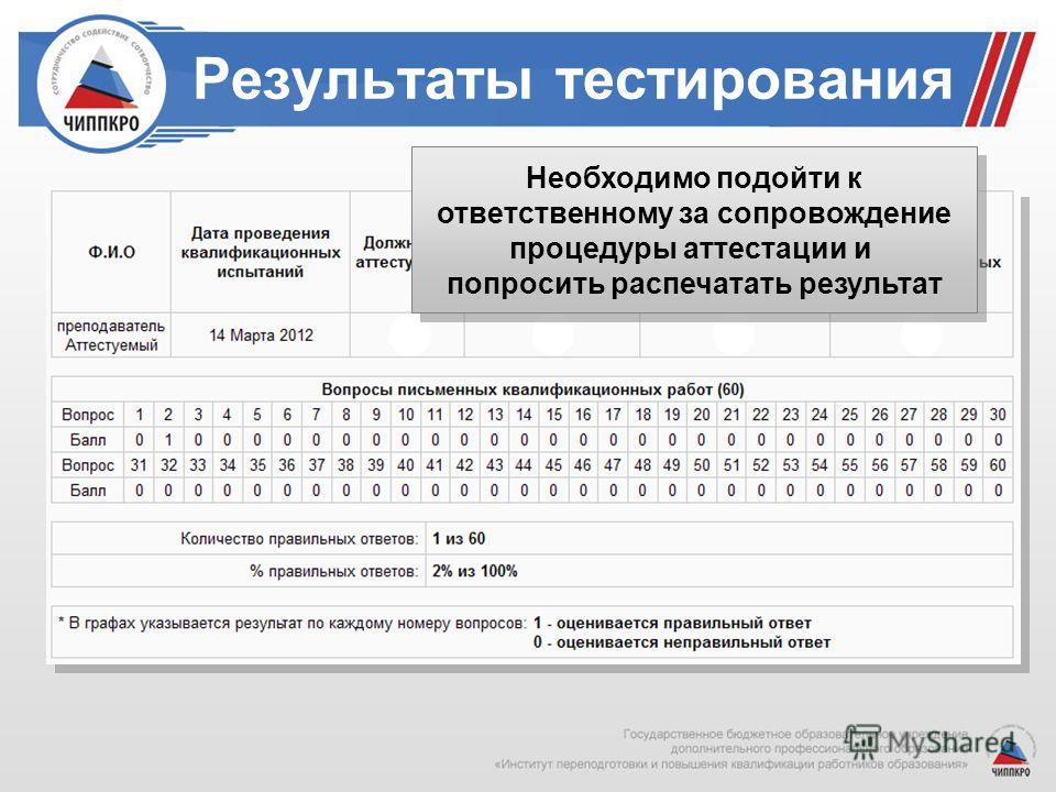 Результаты тестирования Необходимо подойти к ответственному за сопровождение процедуры аттестации и попросить распечатать результат Необходимо подойти к ответственному за сопровождение процедуры аттестации и попросить распечатать результат
