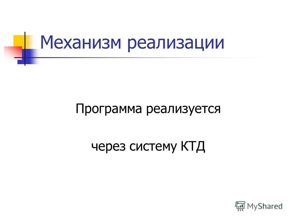 Механизм реализации Программа реализуется через систему КТД