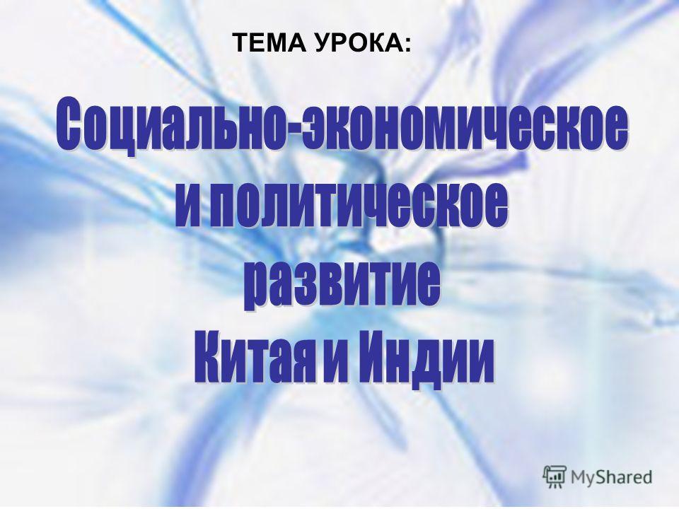 ТЕМА УРОКА: