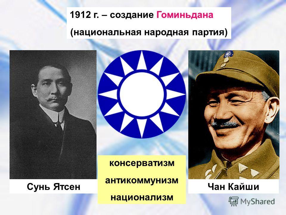 1912 г. – создание Гоминьдана (национальная народная партия) Сунь ЯтсенЧан Кайши консерватизм антикоммунизм национализм