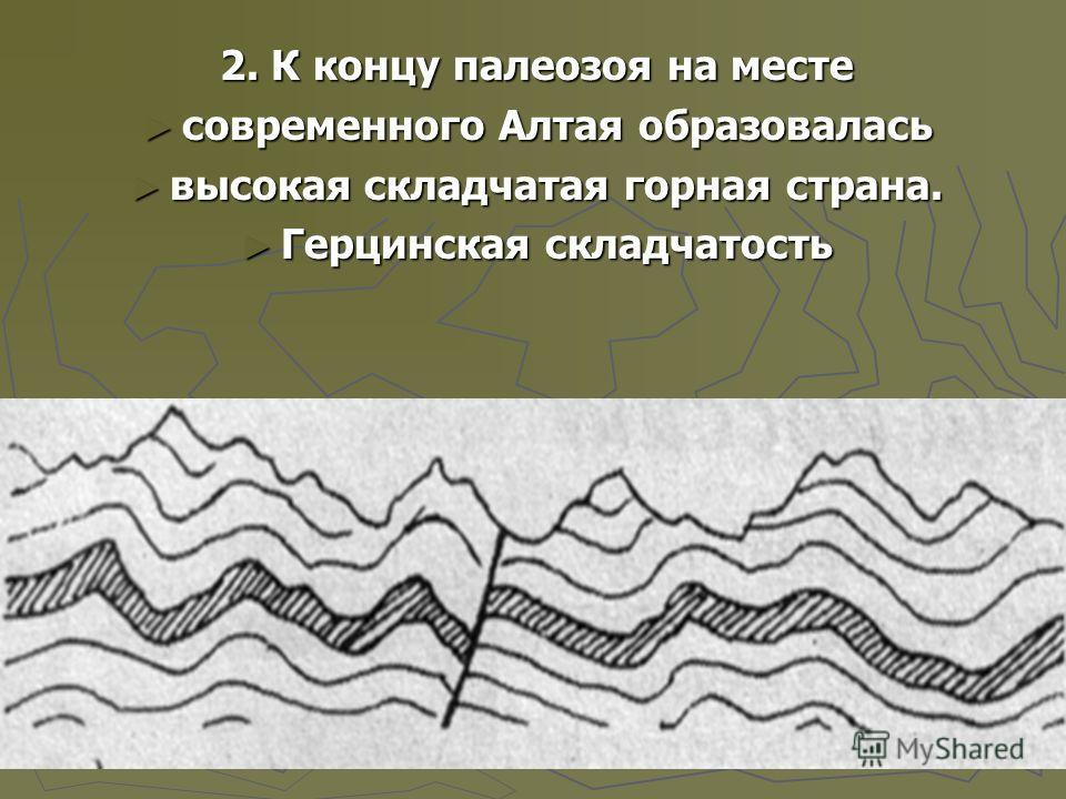 2. К концу палеозоя на месте современного Алтая образовалась современного Алтая образовалась высокая складчатая горная страна. высокая складчатая горная страна. Герцинская складчатость Герцинская складчатость