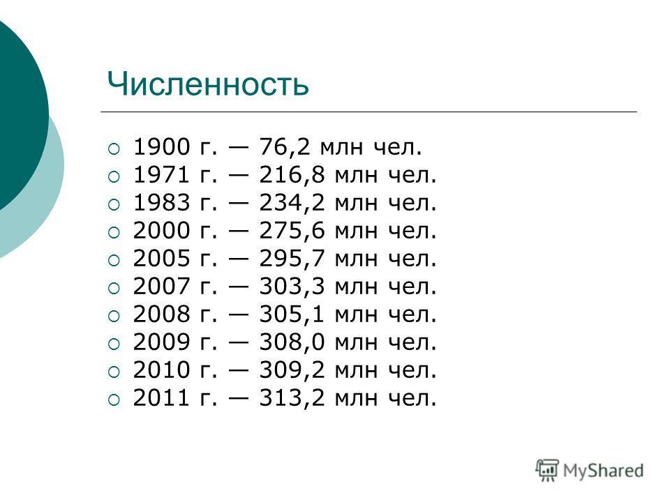 Численность 1900 г. 76,2 млн чел. 1971 г. 216,8 млн чел. 1983 г. 234,2 млн чел. 2000 г. 275,6 млн чел. 2005 г. 295,7 млн чел. 2007 г. 303,3 млн чел. 2008 г. 305,1 млн чел. 2009 г. 308,0 млн чел. 2010 г. 309,2 млн чел. 2011 г. 313,2 млн чел.