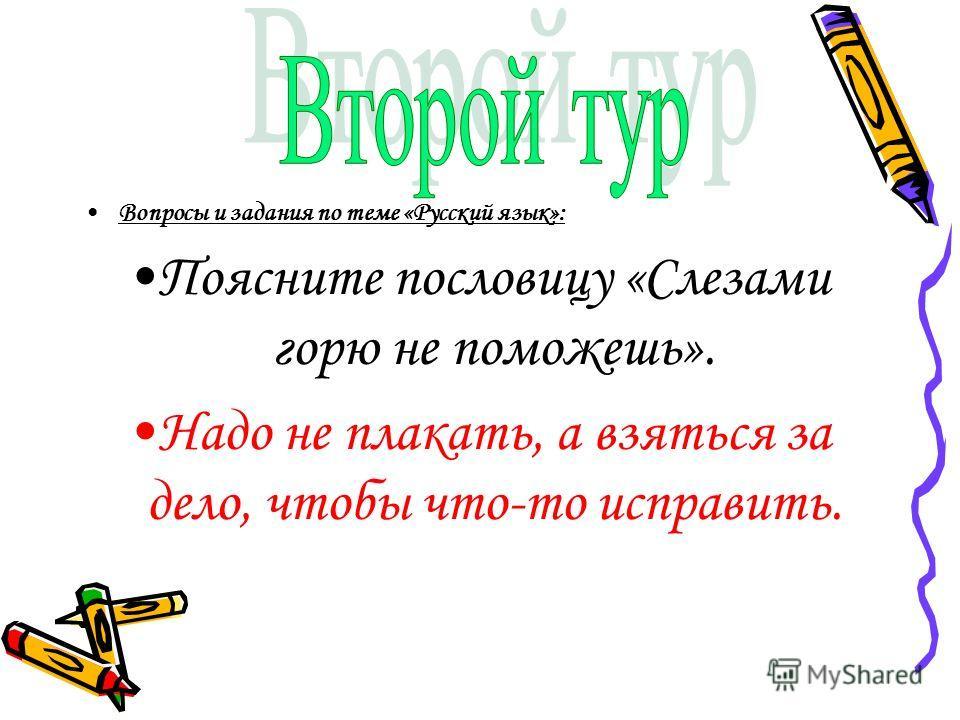 Вопросы и задания по теме «Русский язык»: Поясните пословицу «Слезами горю не поможешь». Надо не плакать, а взяться за дело, чтобы что-то исправить.