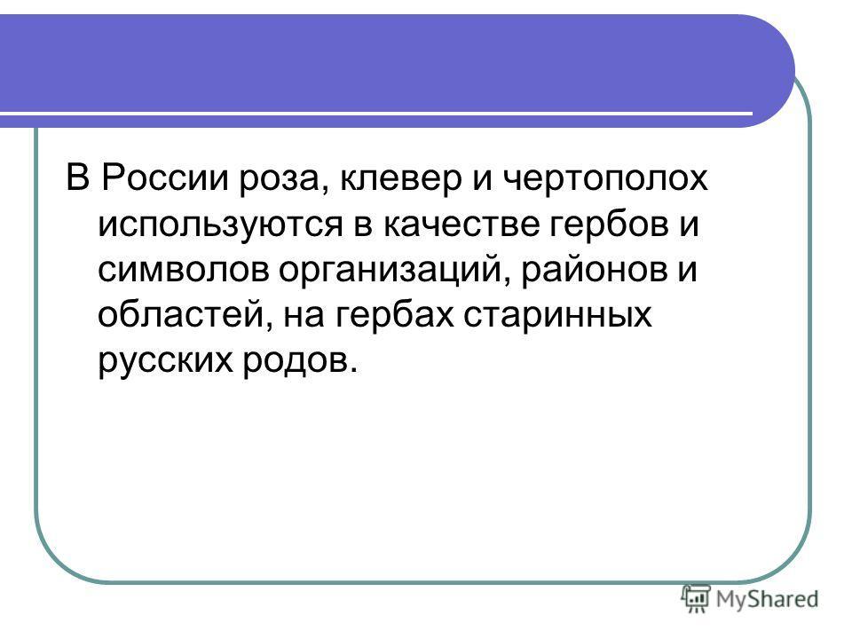 В России роза, клевер и чертополох используются в качестве гербов и символов организаций, районов и областей, на гербах старинных русских родов.